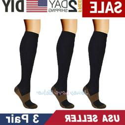 3 Pairs Copper Fit Energy Knee High Compression Socks Pain R